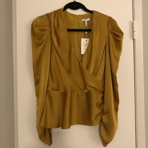 NEW JOIE Size Small Golden / Chartreuse Blouse
